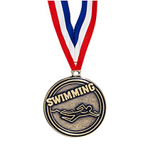 "2"" Swimming Medal with Ribbon"