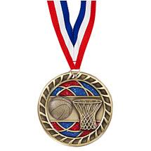"""Basketball Glitter Medal - 2 1/2"""""""