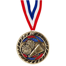 "2 1/2"" Cheer Glitter Medal with Ribbon"