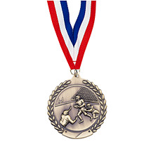 "Small 1 3/4"" Football Laurel Wreath Medal with Ribbon"