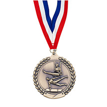 "Large 2 3/4"" Gymnastics - Male - Laurel Wreath Medal with Ribbon"