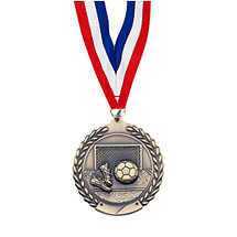 "Soccer Medal - Small 1 3/4"" Soccer Laurel Wreath Medal with Ribbon"