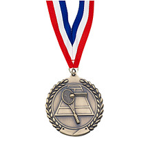"Small 1 3/4"" Tennis Laurel Wreath Medal with Ribbon"