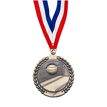 "Large 2 3/4"" Volleyball Laurel Wreath Medal with Ribbon"