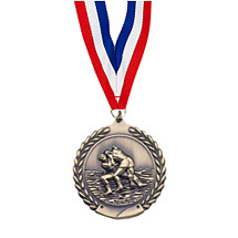 "Small 1 3/4"" Wrestling Laurel Wreath Medal with Ribbon"