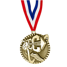 "2"" Cross Country Victorious Medal with Ribbon"