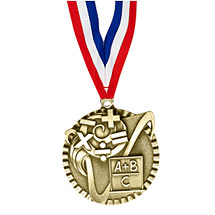 "2"" Math Victorious Medal with Ribbon"