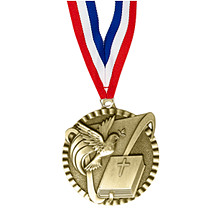 "2"" Religion Victorious Medal with Ribbon"