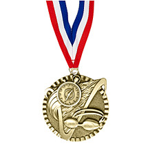 "2"" Swim Victorious Medal with Ribbon"