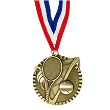 "2"" Tennis Victorious Medal with Ribbon"
