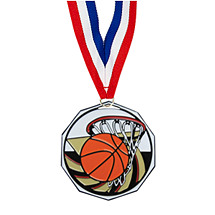 "1 7/8"" Basketball Decagon Medal with Ribbon"