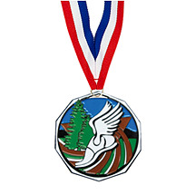 "1 7/8"" Cross Country Decagon Medal with Ribbon"
