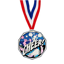 "1 7/8"" Cheerleading Decagon Medal with Ribbon"