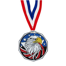 "1 7/8"" Eagle Decagon Medal with Ribbon"