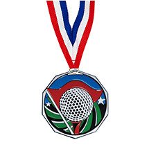 "1 7/8"" Golf Decagon Medal with Ribbon"