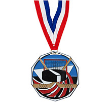 "1 7/8"" Hockey Decagon Medal with Ribbon"