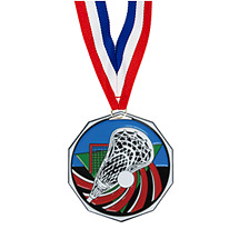 "Lacrosse Medal - 1 7/8"" Lacrosse Decagon Medal with Ribbon"