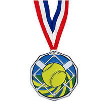 "Softball Medal - 1 7/8"" Softball Decagon Medal with 30"" Ribbon"