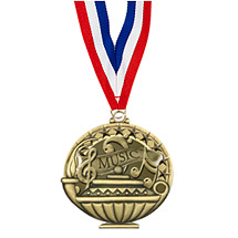 "2"" Music Medal with 30 in. Neck Ribbon"