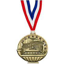 "School Medals - 2"" Perfect Attendance Medal with 30 in. Neck Ribbon"