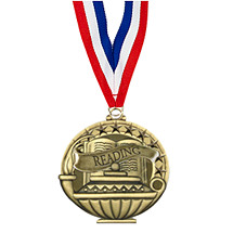 "2"" Reading Medal with 30 in. Neck Ribbon"
