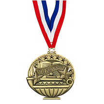 "2"" Star Performer Medal with 30 in. Neck Ribbon"