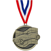 "2 1/4"" Gold Pinewood Derby Medal with Ribbon"