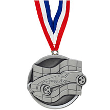 "2 1/4"" Silver Pinewood Derby Medal with Ribbon"