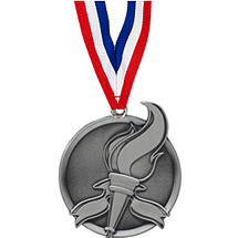 "2 1/4"" Antique Silver Victory Medal with Ribbon"