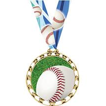 "Baseball Medal - 2 1/2"" Sports Star Series Baseball Medal with 30"" Neck Ribbon"