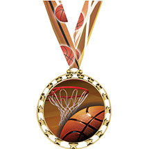 "Basketball Medal - 2 1/2"" Sports Star Series Medal with 30"" Neck Ribbon"