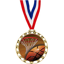 "2 1/2"" Sports Star Series Medal - Basketball - with 30"" Neck Ribbon"
