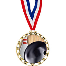 "2 1/2"" Sports Star Series Medal - Bowling - with 30"" Neck Ribbon"