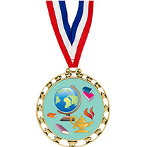 "2 1/2"" Sports Star Series Medal - Education - with 30"" Neck Ribbon"