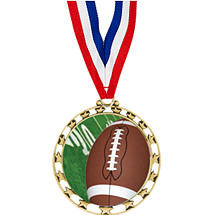 "2 1/2"" Sports Star Series Medal - Football - with 30"" Neck Ribbon"