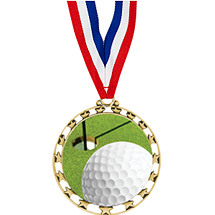 "2 1/2"" Sports Star Series Medal - Golf - with 30"" Neck Ribbon"