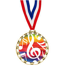 "2 1/2"" Sports Star Series Medal - Music - with 30"" Neck Ribbon"