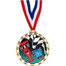 "2 1/2"" Sports Star Series Medal - Pinewood Derby - with 30"" Neck Ribbon"