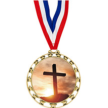 "2 1/2"" Sports Star Series Medal - Religious - with 30"" Neck Ribbon"