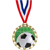 "Soccer Medals- 2 1/2"" Sports Star Series Soccer Medal with 30"" Neck Ribbon"