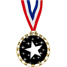 "2 1/2"" Sports Star Series Medal - Star - with 30"" Neck Ribbon"
