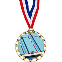 "2 1/2"" Sports Star Series Medal - Swim - with 30"" Neck Ribbon"