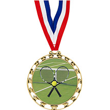 "2 1/2"" Sports Star Series Medal - Tennis - with 30"" Neck Ribbon"