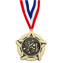"2 1/4"" Music Academic Star Medal with 30 in. Neck Ribbon"