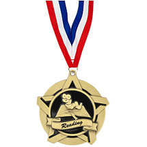 "2 1/4"" Reading Academic Star Medal with 30 in. Neck Ribbon"