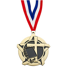"2 1/4"" Religion Academic Star Medal with 30 in. Neck Ribbon"