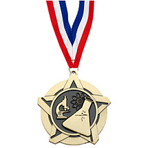 "2 1/4"" Science Academic Star Medal with 30 in. Neck Ribbon"