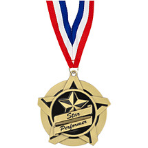 "2 1/4"" Star Performer Academic Star Medal with 30 in. Neck Ribbon"