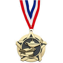 "2 1/4"" Lamp of Learning Academic Star Medal with 30 in. Neck Ribbon"