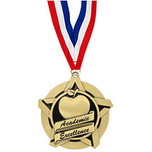 "2 1/4"" Academic Excellence Star Medal with 30 in. Neck Ribbon"